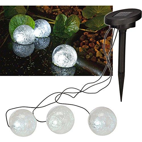 3 Stück Solar Teichlampe mit LED's, Lichteffekte und Einschaltautomatik • LED Lampe Set Teich Beleuchtung Garten Deko Gartenlampe