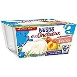 Nestlé Bébé P'tit Onctueux Fromage Blanc Pêche - Laitage dès 6 mois - 4x100G - Lot de 6