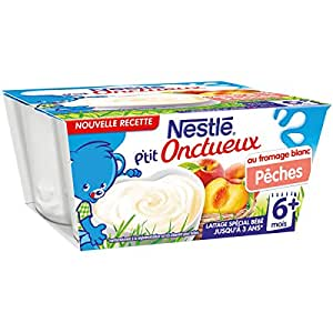 Nestlé Bébé P'tit Onctueux au Fromage Blanc Pêche - Laitage dès 6 mois - 4 x 100g -Lot de 6