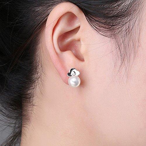 Erica Argent 925 Boucles d'oreilles Prune femelle / Boucles d'oreilles coréenne Diamant Perle naturelle white