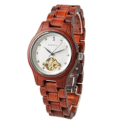 BEDATE Wooden Watches Mens with Mechanical Hand-wind Movt Luxury Rosewood Bracelet for Womens 30M Waterproof