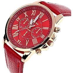 Zolimx Women's Roman Numerals Faux Leather Analog Quartz Wrist Watch Red