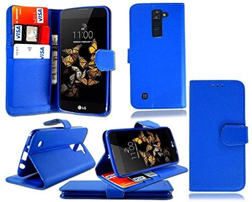 Schlank Stoff Brieftasche (LG K8 2017 Hülle, Kamal Star® Hülle für LG K8 2017 , Schutzhülle Lederhülle Handyhülle aus Leder Flip Cover Taschenhülle mit Kreditkartenhaltern, Standfunktion, Geldbeutel, Magnetverschluss + Stylus (BLUE BOOK))