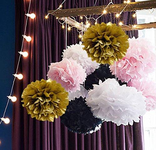 om Pom Weiß Rosa Gold Schwarz Papier Blume Ball Dekoration Tissue Ball Papier Dekoration für Baby Dusche Pariser, Französisch, Paris, Pink, Pink und Schwarz Geburtstag Party Ideen (Herzstück Ideen Für Den Geburtstag)