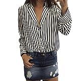 Damen Tops ,LMMVP Frauen Langarm Gestreift Bedruckt V-Ausschnitt Casual Bluse (XL, Black)