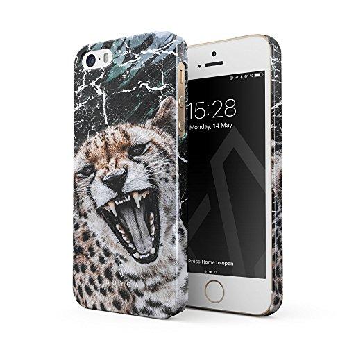 BURGA Hülle Kompatibel mit iPhone 5 / 5s / SE Handy Huelle Insidious Jaguar Savage Wild Cat Fashion Designer Dünn, Robuste Rückschale aus Kunststoff Handyhülle Schutz Case Cover (Iphone 5 Case Fashion Girl)