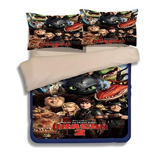 FOREVER 3D Driving The Dragon Warrior Bettwäsche-Set Superfine Polyester Quilt Bettbezug Für Kinder Kinder Teenager Mädchen (Color : B, Size : 220 * 260cm) (Teenager-mädchen Quilts)