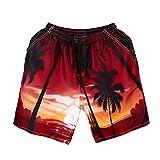 OSYARD Herren Tragen Sie 3D Print Beach Pants Hosen Große Größe Kreative Schwimmen Hosen(3XL, Rot)