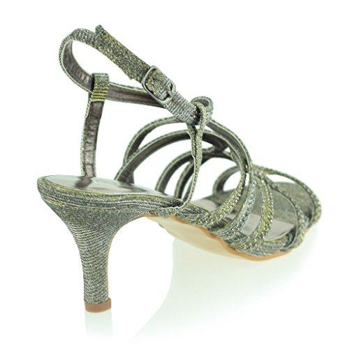 Femmes Dames Diamante Décoré Cage Sandales à Lanières Talon moyen Des Sandales Soir Fête Mariage Bal de Promo De Mariée Chaussures Taille Étain