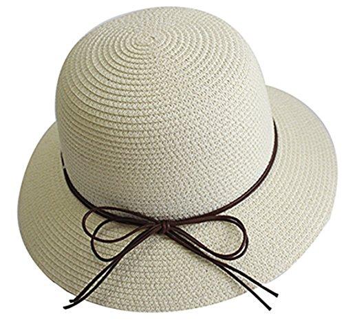 YUUVE Mujer Plegable Bowknot Floppy sombrero de paja Sombrero Brim Wide  Beach sombrero Visor Hat Gorra d16fa79f153