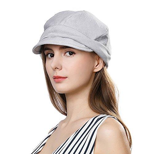 SIGGI Faltbare Schirmmütze Damen Packbare Sommermütze Newsboy cap Grau
