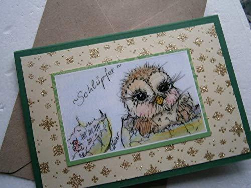 Eulenbild Geburtstagskarte handgemacht frisch geschlüpft Küken Unikat als hochwertige Klappkarte glitzernde Grußkarte zur Geburt