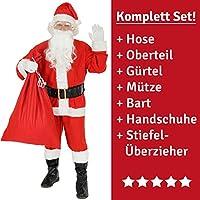 FOXXEO Costume de Père Noël 9 pièces pour Homme avec Chapeau, Barbe, Ceinture et Gants