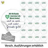 24 Adventskalender-Zahlen (Aufkleber Etiketten Sticker) | Herz | 24 Gründe warum ich Dich liebe! » mit Platz für Ihren handschriftlichen Text | Rund | M » Ø 40 mm | Grün (Liniert) | F00111-03