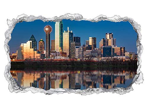3D Wandtattoo Dallas Skyline USA Stadt Trinity River Wand Aufkleber Wanddurchbruch sticker selbstklebend Wandbild Wandsticker Wohnzimmer 11P236, Wandbild Größe F:ca. 97cmx57cm