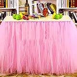 MYMM Tischröcke, romantische Tischdeko mit Tüll, Tischdekoration, Schneeflocke Wonderland Tischdecke, für Baby-Dusche, Hochzeit, Geburtstag, Party, Bar, Prom, Valentinstag Weihnachten (Rosa)
