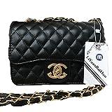 Handtaschen Messenger Bag Lingge Kette Paket Schulter Mode Mini Tasche,Black-OneSize