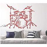 Pbbzl Set Batteries Silhouette Murale Home Salon Salle De Bain Décor De La Musique Instrument Batterie Set Kits Wall Sticker Qualité Papier Peint 57X62Cm