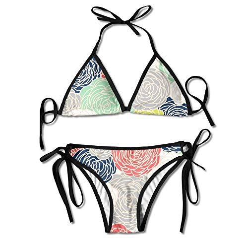 Rose Print Bikini Bottom (Blossom Roses Print Multi Women's Tie Side Bottom Bikini Suits Two Pieces Swimwear)
