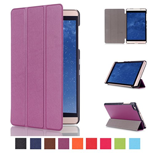 Huawei MediaPad M2 8.0 Hülle Case - Ultra Slim Leder Tasche Hülle Etui für Huawei MediaPad M2 8.0 Zoll (2015 Edition) Schutzhülle Smart Case Cover mit Standfunktion,Lila