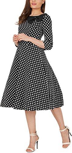 BlackButterfly 'Iris' 50's Polka-Dots Kleid mit besetztem Ausschnitt (Schwarz – weiße Punkte, EUR 38 - S) (Dot Kleid Polka Schwarz Weiß)