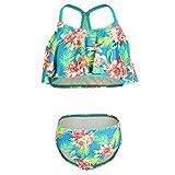DUSISHIDAN Mädchen Schwimmanzug Zweiteiliger Slinge Bademode, Schlinge Bikini Mädchen Grüne Blumen 144-176 XL(14)