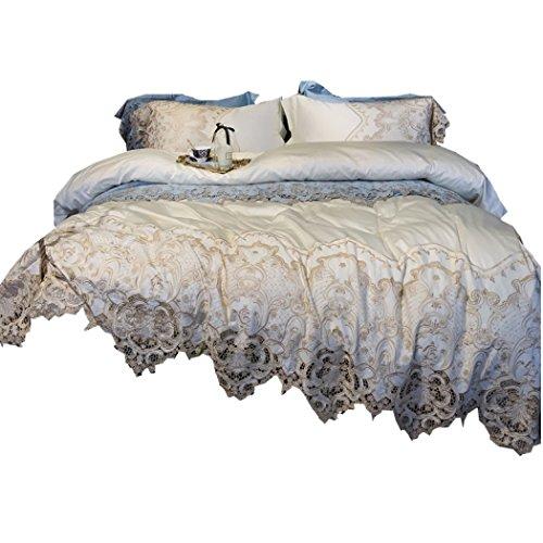 Bettbezug, Bettwäsche und Kissenbezüge Französisch Spitze 100 Baumwolle Bettbezug Sets High-End-Modell Zimmer, Hochzeit, Geschenk Bettwäsche Quilt Sets,Queen 200*230cm (Bettdecke Queen-französisch)