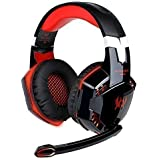 KingTop EACH G2000 Auriculares de diadema con micrófono estéreo Bajo luz LED para PC Portátil Juego, Rojo y Negro