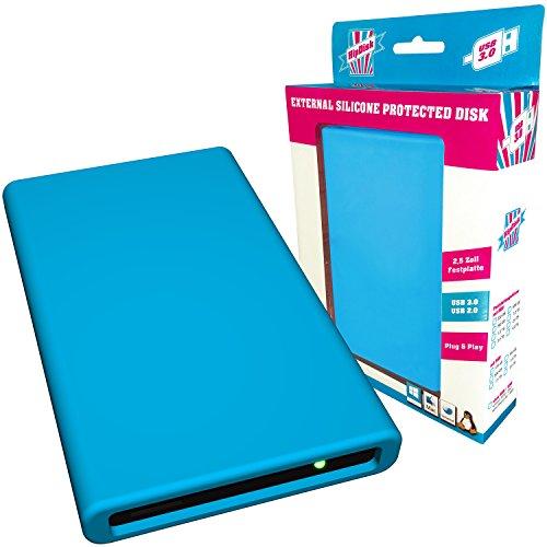 HipDisk externe Festplatte 500GB (6,4 cm (2,5 Zoll), USB 3.0) HD-BL-500 mit austauschbarer Silikon-Schutzhülle stoßfest blau
