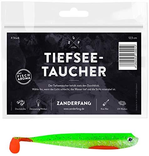 Zanderfang 4 Gummifische zum Zanderangeln mit Gummifisch Tiefseetaucher | grün | 12,5 cm