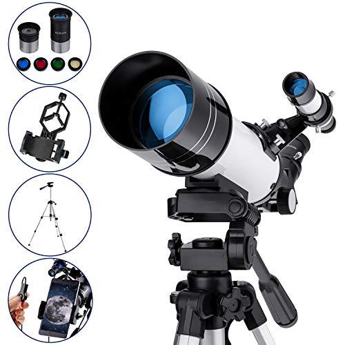 MAXLAPTER Refractores Telescopio Astronómico para Niños Principiantes, Alta Ampliación HD, Doble Uso, Portátil y Equipado con Trípode, Adaptador De Teléfono Inteligente