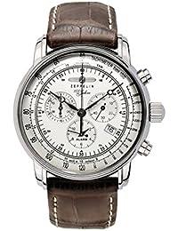 Zeppelin 100 Jahre Zeppelin - Reloj analógico de caballero de cuarzo con correa de piel marrón (alarma, cronómetro)