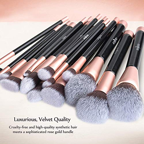 Makeup Brush Set Anjou 16pcs Professional Cosmetic Brushes with Soft and Cruelty-Free Synthetic Fiber Bristles and Rose Gold Detailing - Elegant PU Leather Pouch Included