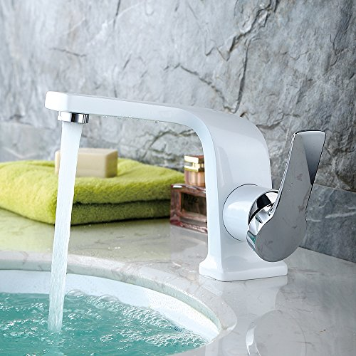 Homelody – Einhebel-Waschbeckenarmatur, ohne Ablaufgarnitur, Curved-Design, Weiß-Chrom - 4