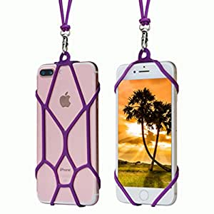 TOOVREN Cell Phone Lanyard Universal Silicone Neck Strap Smart Phone Case Detachable Necklace Card Holder Purple 1