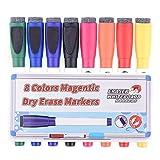 magentic effaceurs avec gomme,Feela 8 couleurs blanc board marqueurs et gomme, pointe moyenne faible odeur marqueurs utilisables sur surface de bureau de l'école à la maison un tableau magnétique