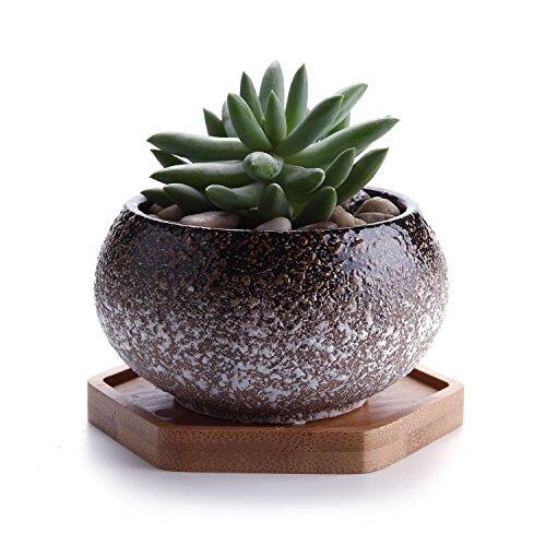 T4U 10cm Schneeflocken Glasur Kurz Keramik Sukkulenten Töpfe Kaktus Pflanze Töpfe Mini Blumentöpfe Braun mit Hexagon Bambus Untersetzer