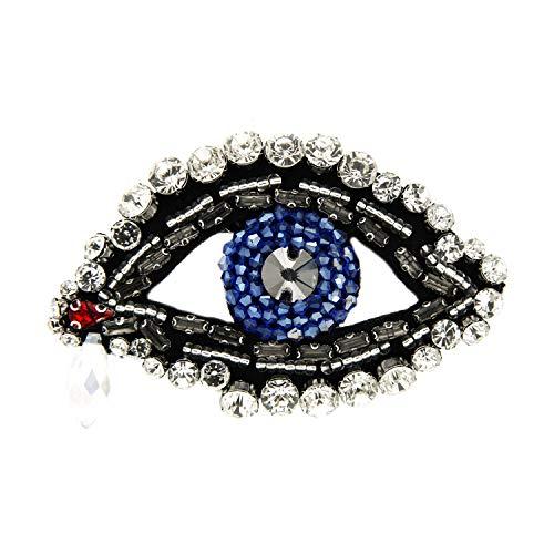 Sweet Deluxe Brosche Auge, schwarz/Crystal/blau I ausgefallene Blusenbrosche für Damen & Mädchen I Frauen-Brosche für Abendkleid & Bluse I Anstecknadel