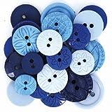 Calica® Knöpfe Mixsets ★ ø 10-21 mm ★ 18 Stück (Blau Mix)