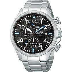 Pulsar Uhren Sport PS6049X1 - Reloj cronógrafo de cuarzo para hombre, correa de Acero inoxidable color negro (cronómetro)