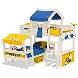 WICKEY Doppelbett CrAzY Trunky Etagenbett Kinderbett 90x200 für 2 Kinder in schrägem Design mit Lattenboden, blau-gelb + weiße Farbe