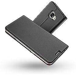 Radoo Coque Galaxy A5 2017, Ultra Mince en Cuir PU Premium Housse à Rabat Portefeuille Étui de Bumper Folio à Clapet pour Samsung Galaxy A5 2017 (Gris-Noir)