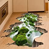 3D pegatinas de pared, RETUROM Desprendible 3D Stream pared del piso etiqueta para la decoración de la sala de estar