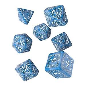 Q Workshop Elvish Glacier & White RPG Ornamented Dice Set 7 Polyhedral Pieces