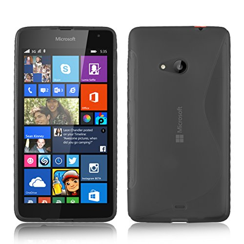 Nokia Lumia 535 - Premium TPU Hydro Grip S Line Wave Pattern Gel Silicone Skin Case Cover pouch + Free Screen Protector & Cleaning Cloth & Touch Screen Stylus Pen  available at amazon for Rs.225