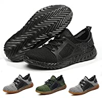 Safety Work Shoes Men Steel Toe Sneaker Industrial Construction Puncture Proof Shoes Lightweight Breathable Mesh Non-Slip Outdoor Sports Footwear (42, Black)
