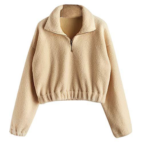 ZAFUL Damen Plüsch Sweatshirt mit Stehkragen Pullover Halber Reißverschluss Langarm Braun Small