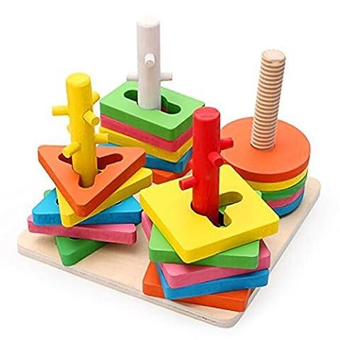Vococal® pédagogiques Enfants bébé enfants géométrique tri Conseil bloc début apprentissage éducatif cerveau formation intellectuelle jeu bloc de construction