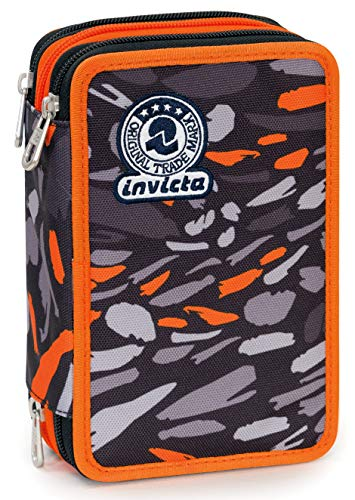 Astuccio 3 Zip Invicta Art, Nero, Con materiale scolastico: 18 pennarelli Giotto Turbo Color, 18 matite Giotto Laccato...