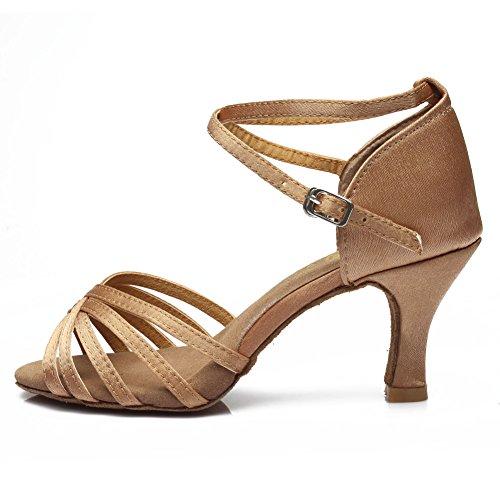 HROYL Zapatos de Baile/Zapatos Latinos de el Beige satén Mujeres ES7-F13 EU 38.5